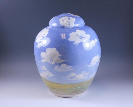 SSG Laura Bruzzese - New Mexico Skies 9x7 Handpainted Porcelain.JPG