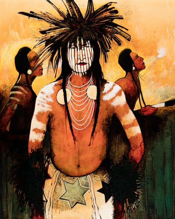 SSG - Kevin Red Star - Sundancers - Eagle Breath Feather Whistles - Acrylic on Canvas 60h x 48w.jpg
