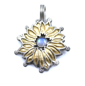 SSG-L Baca-Moonstone Flower Pendant 3x2 22k Petals w Sterling Silver and Blue Moonstone.JPG