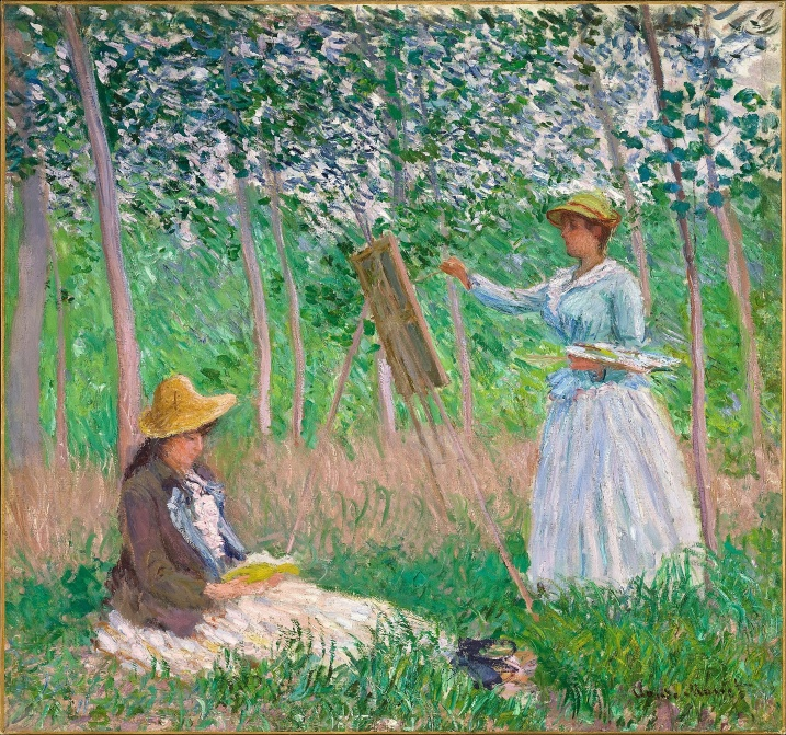 Claude_Monet_-_In_the_Woods_at_Giverny-_Blanche_Hoschedé_at_Her_Easel_with_Suzanne_Hoschedé_Reading__Los Angeles County Museum of Art LA CA.jpg