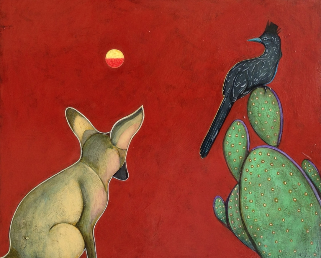 SSG-Phyllis Stapler-Coyote and Roadrunner-Acrylic and oil on board 20x24.jpg