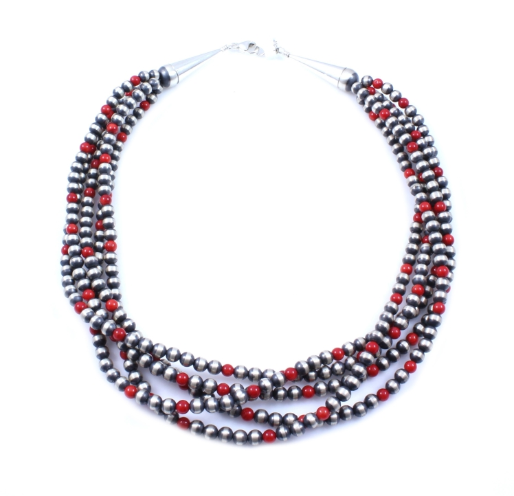 SSG-Lawrence Baca-5 Strand Bamboo Coral Bead Necklace-18 inches Sterling Silver Beads.jpg