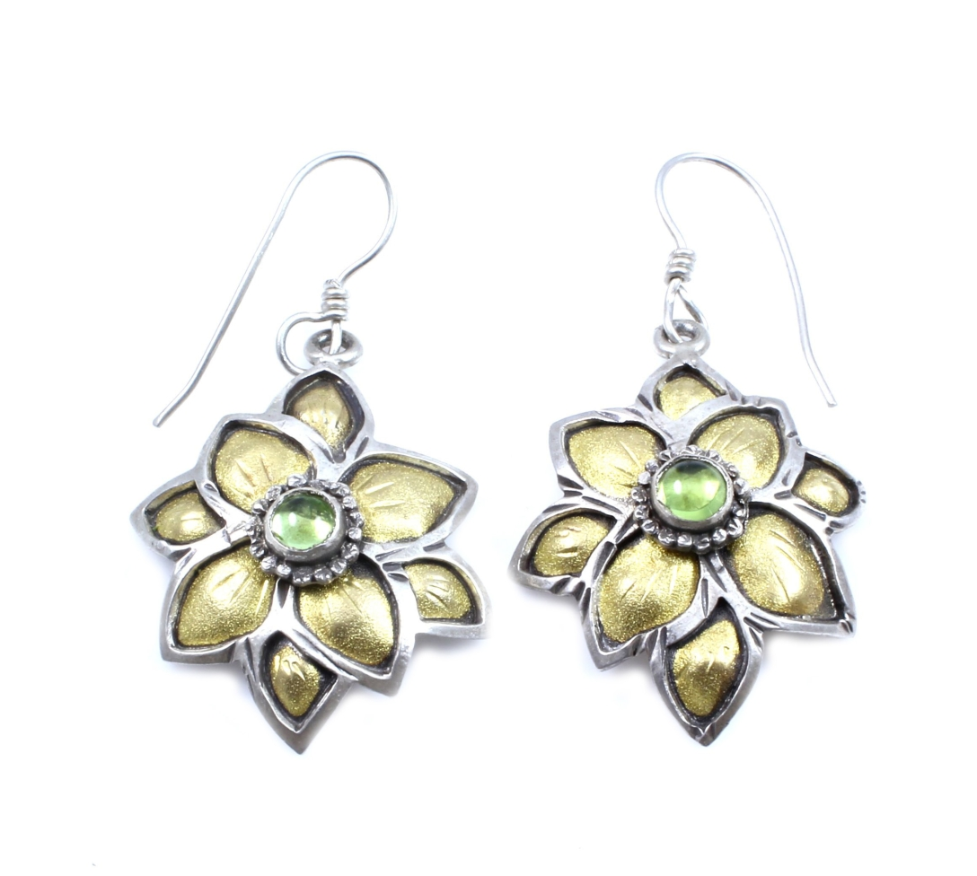 SSG-Lawrence Baca-Flower Earrings with Peridot-2 inches Sterling Silver with 22k Gold and Peridot