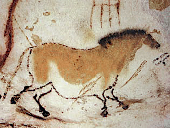 Image of a horse from the Lascaux caves made by the Cro-Magnon peoples at their hunting route in the Stone age.jpg