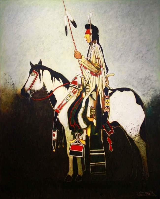 SSG-Crow man on war horse by Kevin Red Star.jpg