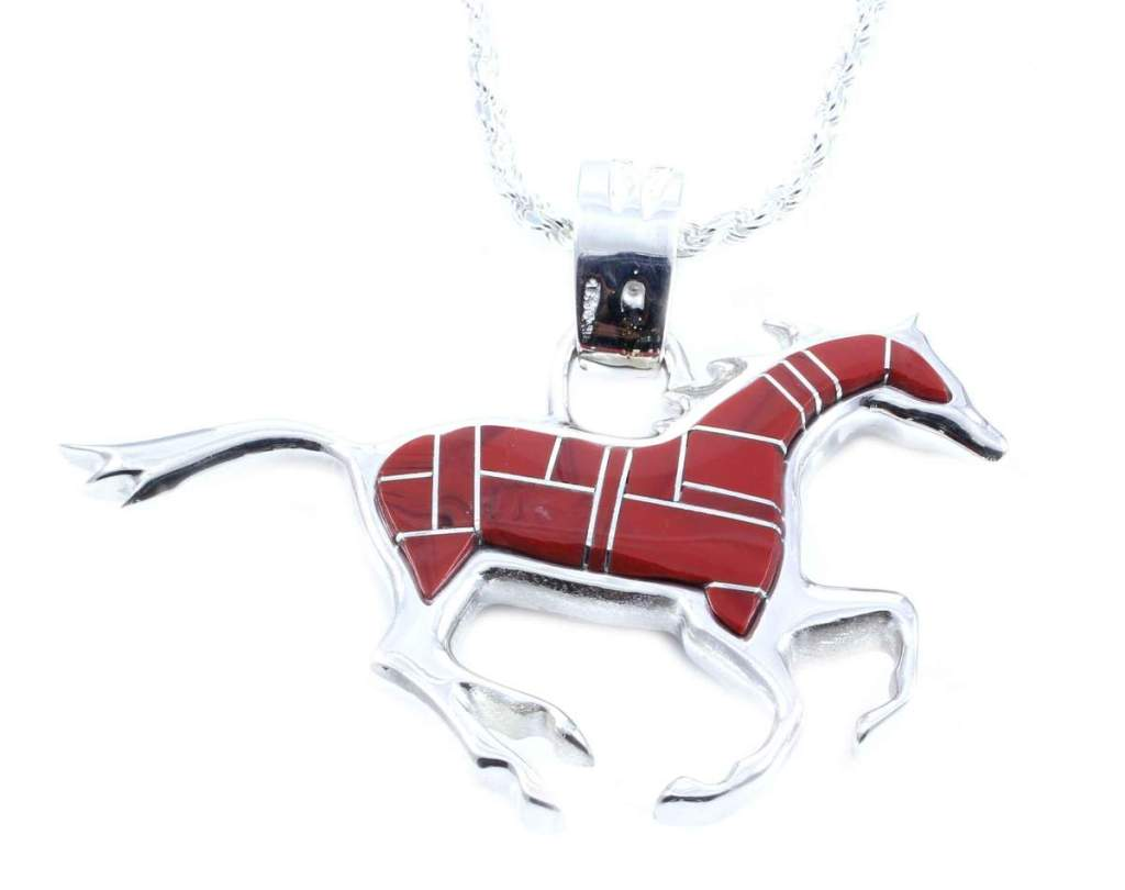 Running horse pendant of Sterling silver with onyx and Rosarita inlay.