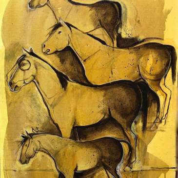 Acrylic painting of four ponies by Crow Indian artist Kevin Red Star
