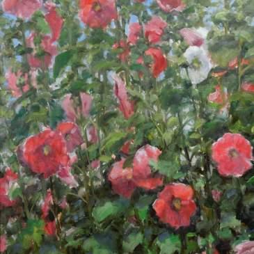 Painting of a garden full of Hollyhocks bu Stephen Day
