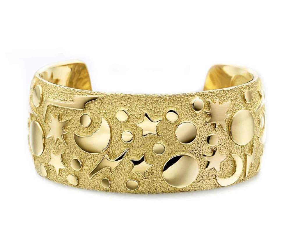 18k Gold cuff bracelet with stars, moons, planets, lightening bolts by Ben Nighthorse