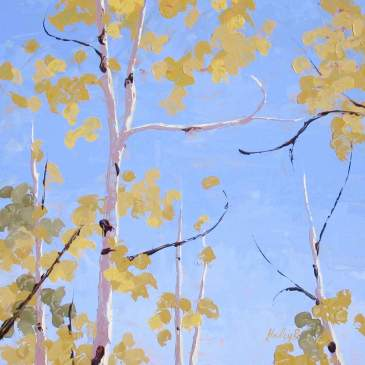 Painting of the tops of aspen trees with golden leaves.