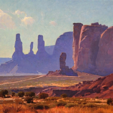 Oil painting of stone formations at Monument Valley by Calvin Liang