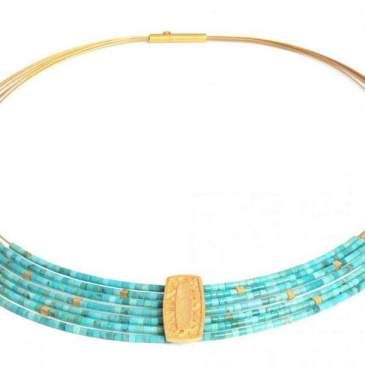 Necklace in Sterling Silver with fine gold overlay by Bernd Wolf