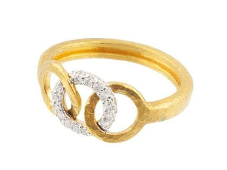 24K gold ring with diamonds set in 18K white gold by Gurhan