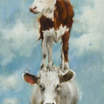 35 foot high tile mural of two cows by Elsa Sroka