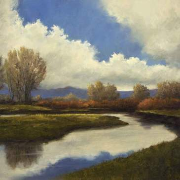 Oil painting of the Rio Grande River as it flows through Southern Colorado near Monte Vista by Peggy Immel
