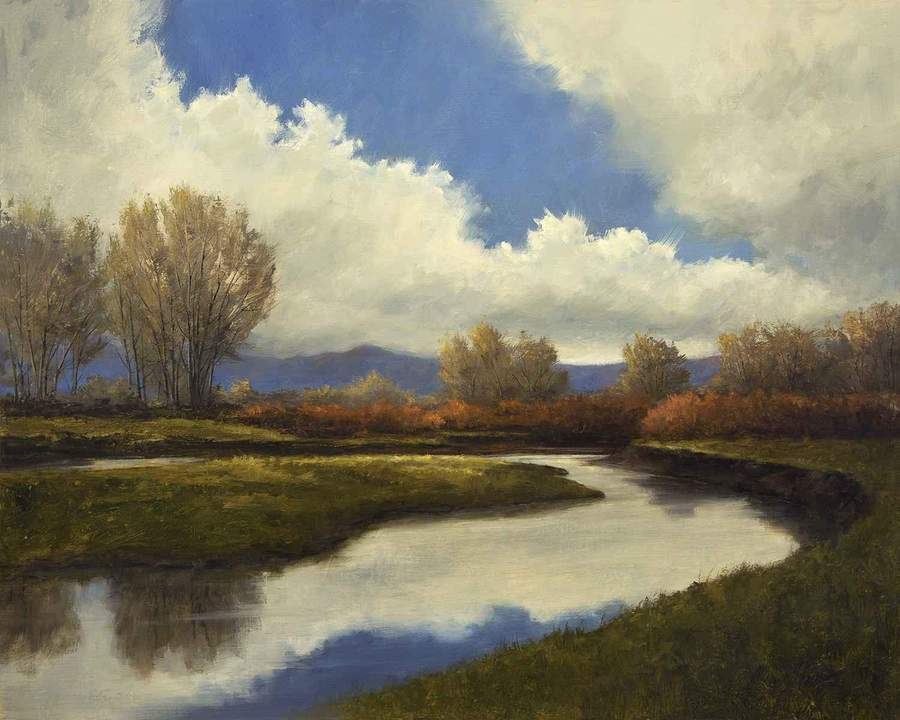 Oil painting of the Rio Grande River as it flows through Southern Colorado near Monte Vista by Peggy Immel as seen at Sorrel Sky Gallery