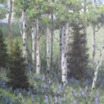 Oil painting of summer aspen and lupine by Stephen Day