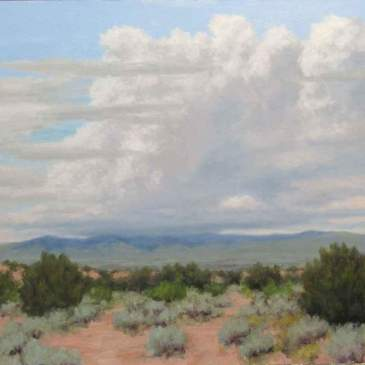 Oil painting of summer clouds over a sage filled desert and mountains by Stephen Day