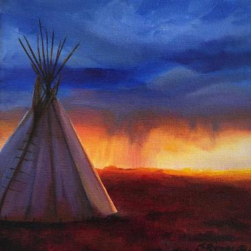 Oil painting of a teepee as a storm approaches by Tamara Rymer