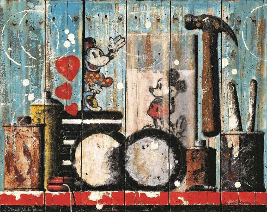 Painting of Mickey and Minnie with Oreos by Chuck Middlekauff