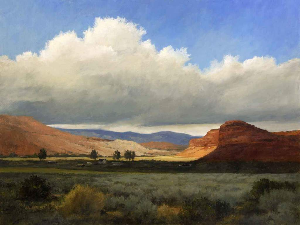 Painting of a ranch surrounded by red rock mesas under a New Mexico sky by Peggy Immel