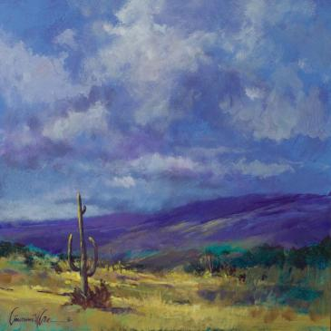 Painting of a western landscape by Lawrence Lee