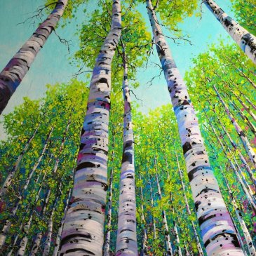 Painting of aspen trees, looking up into the sky, by Roberto Ugalde