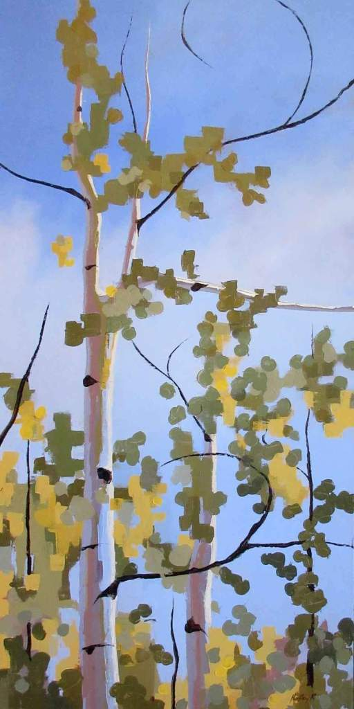 Painting of aspen trees against a blue sky by Hadley Rampton