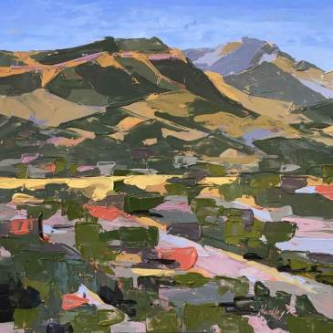 Painting of the view looking across Durango by Hadley Rampton
