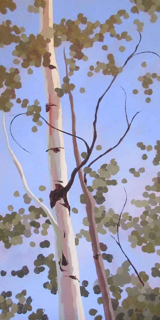 Painting of an aspen tree reaching up towards the blue sky by Hadley Rampton