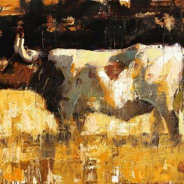 Oil painting of a longhorn cow by Jerry Markham as seen at Sorrel Sky Gallery