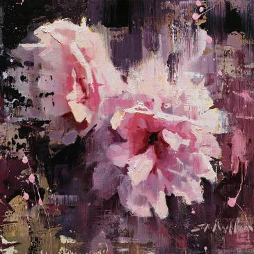 Oil painting of pink peonies by Jerry Markham as seen at Sorrel Sky Gallery