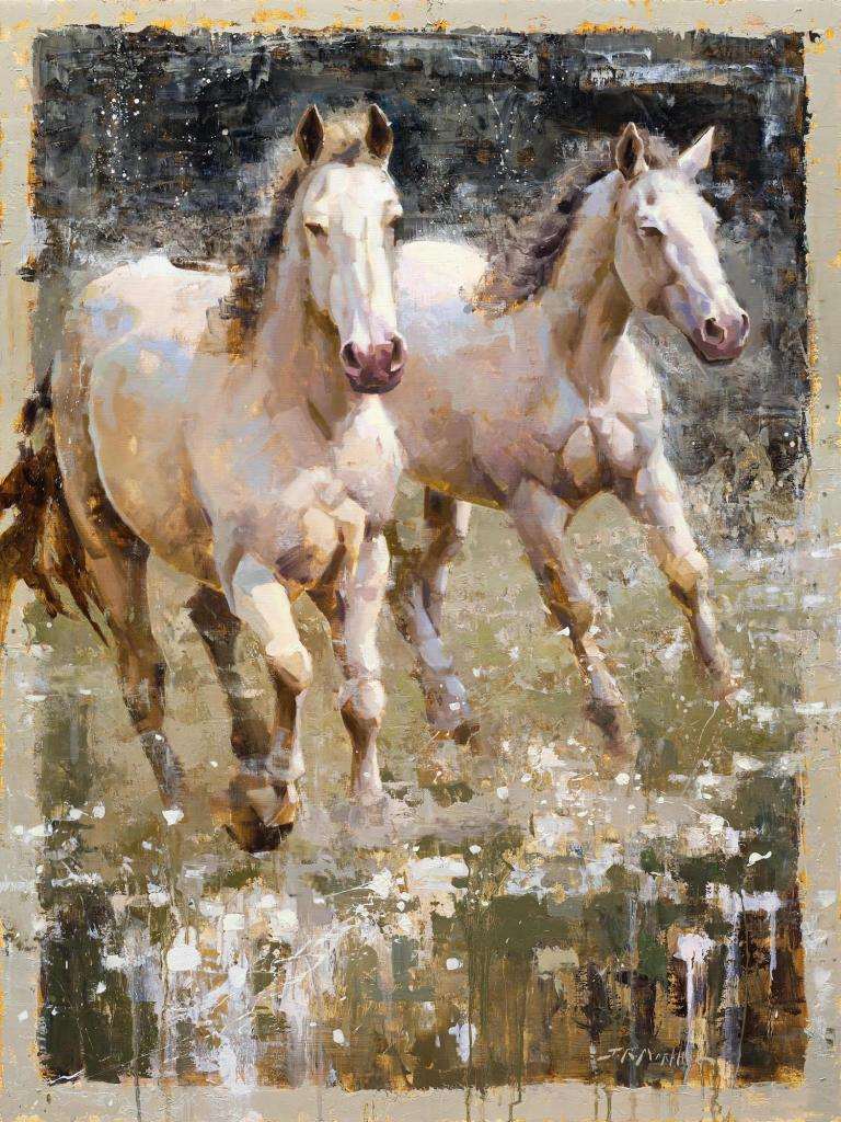 Oil painting of two white horses by Jerry Markham as seen at Sorrel Sky Gallery