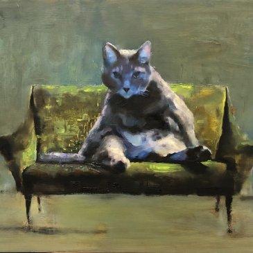 Painting of a big fat cat sitting on a little green sofa by Elsa Sroka