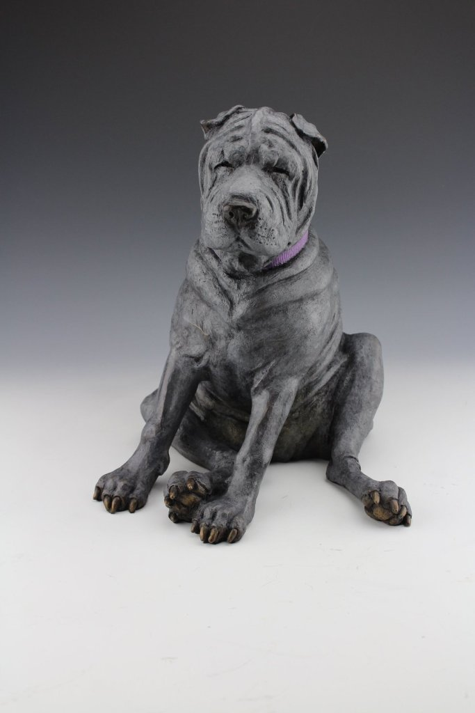 Bronze sculpture of a wrinkled Shar Pei by Mark Dziewior