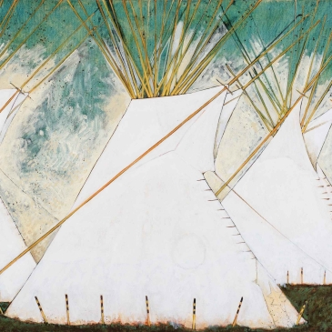 Painting of several white Crow Tipis by Kevin Red Star as seen at Sorrel Sky Gallery