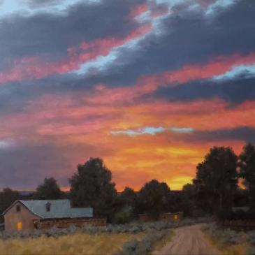 Oil painting of an old farmstead under a magnificent pink and gold sunset by Stephen Day as seen as Sorrel Sky Gallery