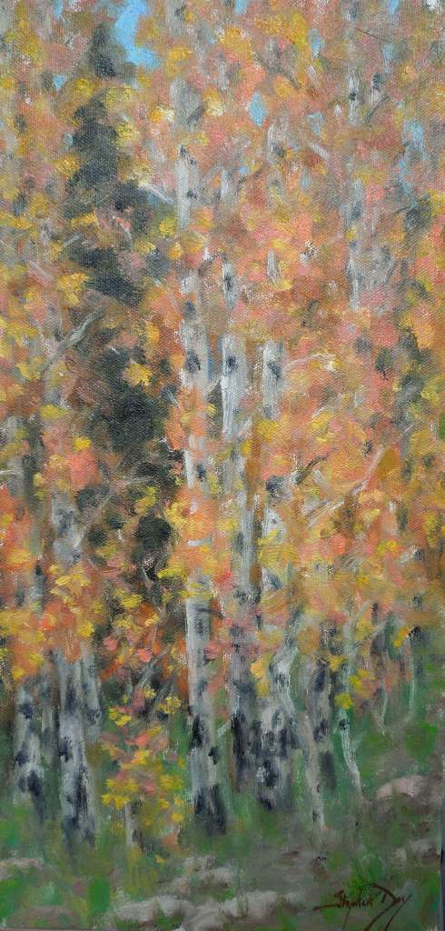 Oil painting of fall aspens by Stephen Day as seen at Sorrel Sky Gallery
