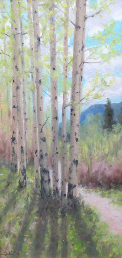 Oil painting of aspens alongside a trail with the sun shining through the trunks by Stephen Day as seen at Sorrel Sky Gallery