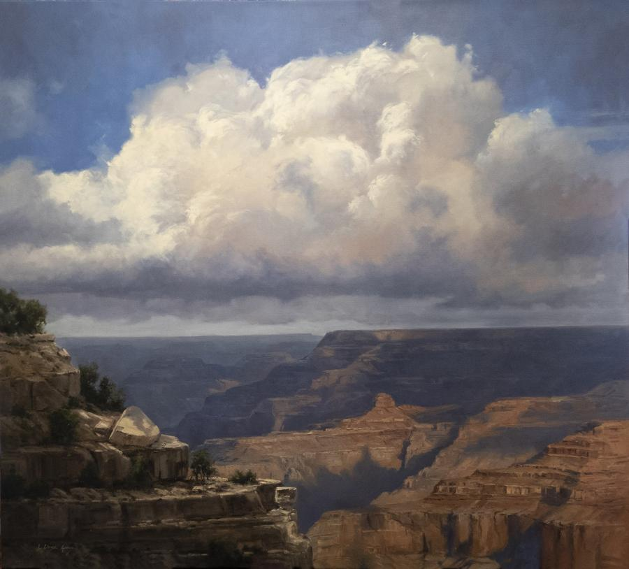 Painting of a canyon vista with large white clouds by Linda Glover Gooch as seen at Sorrel Sky Gallery
