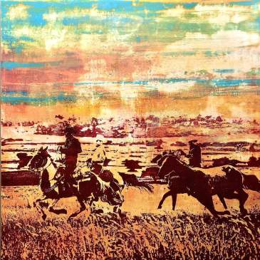 Cowboys riding their horses across a western sunset by Maura Allen as seen at Sorrel Sky Gallery