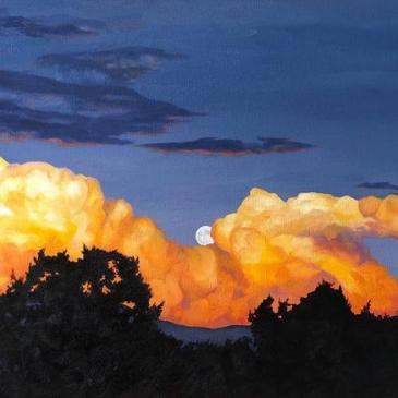Painting of a full moon shining through golden evening clouds by Tamara Rymer as seen at Sorrel Sky Gallery