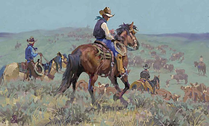 Digital print on aluminum of cowboys herding cattle by Jim Rey as seen at Sorrel Sky Gallery