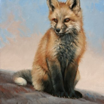 Oil painting of a fox kit, alert and curious by Edward Aldrich as seen at Sorrel Sky Gallery