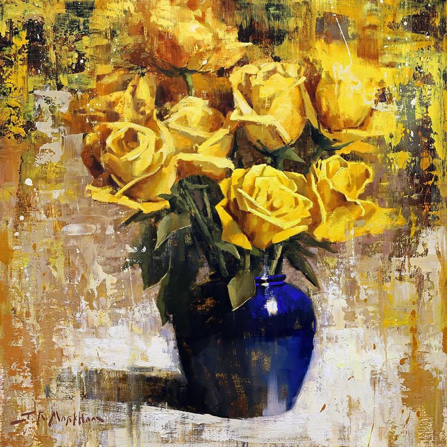 Painting of yellow roses in a blue vase by Jerry Markham as seen at Sorrel Sky Gallery