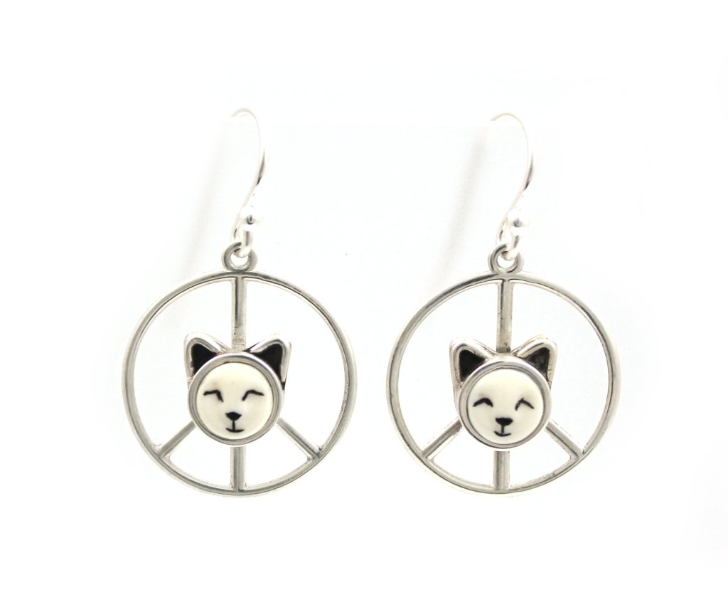 Peace sign earrings with the faces of little kittens by Michelle Tapia as seen at Sorrel Sky Gallery