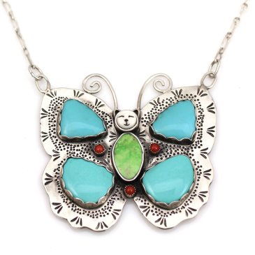 Sterling silver butterfly necklace with turquoise wings by Michelle Tapia as seen at Sorrel Sky Gallery