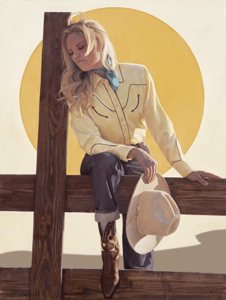 Contemporary and vintage style oil painting of a blond cowgirl by SC Mummert as seen at Sorrel Sky Gallery