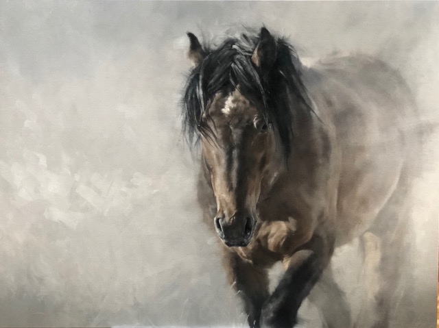 Painting of a wild stallion by Doyle Hostetler to be see at Sorrel Sky Gallery